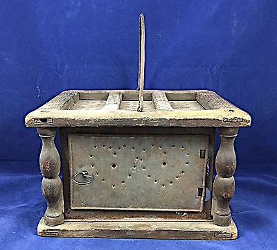 18th-Early 19th c. Tin & Wood Portable Heater or Stove with Hearts on All Sides