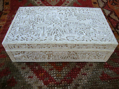 LARGE IMPRESSIVE 19th CENTURY CHINESE CANTONESE CARVED BOX