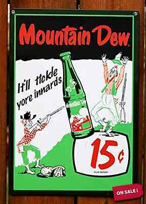 Mountain Dew Soda 15 Cents Retro Vintage Tin Sign - Officially Licensed Product