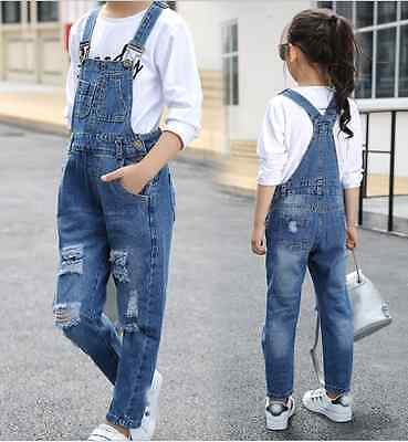 Hot Girls Kids Summer Ripped Slit Cropped Jeans  Denim Pants dungarees Trousers