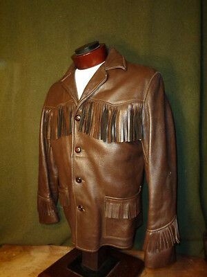 VINTAGE DEERSKIN FRINGE LEATHER JACKET CUSTOM COAT CO. INC. 44-46 chest