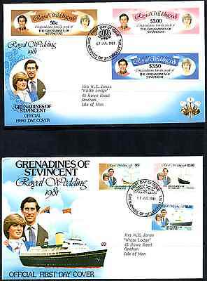 Grenadines Of St. Vincent 1981 Royal Wedding 2 Fdc'S #a0341