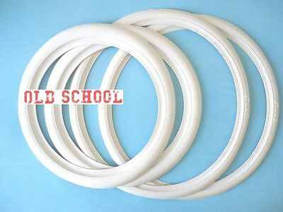 """Motorcycle Front Slim 16"""" Back Wide 15"""" Whitewall Tire Trim Set Free Shipping"""