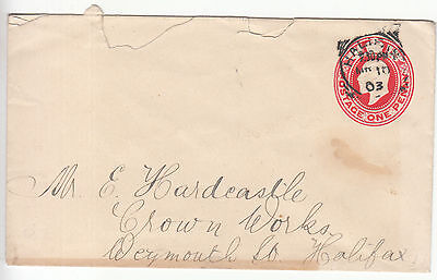GB: EDVII Embossed 1d Cover, Halifax to Crown Works, Halifax, 10 March 1903
