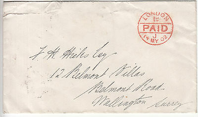 GB: EDVII Cover, London to Watlington, franked, 14-15 May 1902