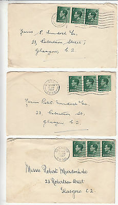 GB: EdVIII: 25 covers & 2 fronts to Messrs Robert Murdoch & Co, Glasgow, 1936-37