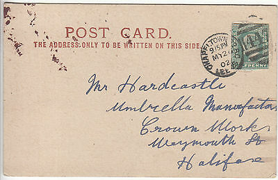 GB: EDVII postcard, Chapel Town, Leeds to Halifax, EDVII ½d cut out, 20 May 1902