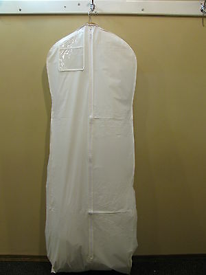 GARMENT BAG white vinyl for Wedding Gown with Train Prom/Formal storage full zip