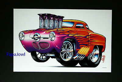"Muscle Machines Art Print Poster 1950 Studebaker 50 Show Car Hot Rod 11"" by 17"""