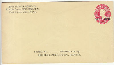 USA: Cover, with embossed Jackson 4c overprinted Specimen, 1887-94