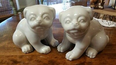 Rare Pair! Fitz & Floyd Two Vintage 1977 Pudgy Pug Dogs Porcelain