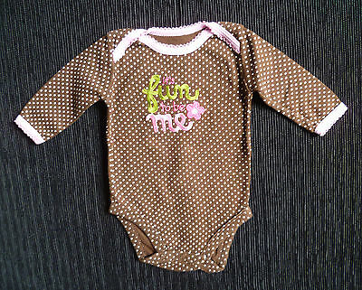 Baby clothes GIRL 3-6m Carters brown/pink spot bodysuit/topSEE SHOP COMBINE POST