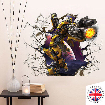 Transformers BUMBLEBEE Wall Art Sticker Decal Vinyl Home Bedroom Smash Crack