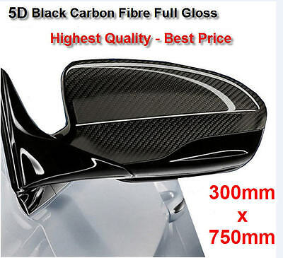 5D Carbon Fibre Vinyl Wrap Air Bubble Free Black Gloss 300mm x 750mm