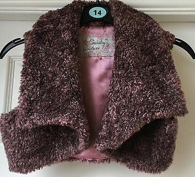 Purple Girls Faux fur Waistcoat By Country Couture Size 8-9 Years
