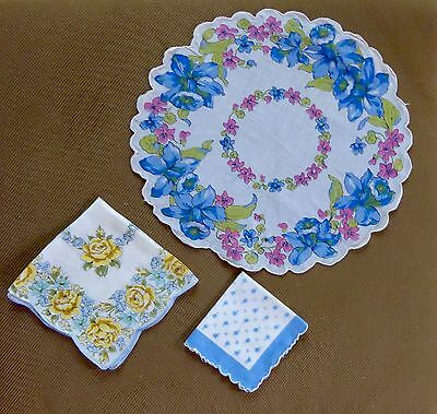 Three Vintage Floral Ladies Handkerchiefs