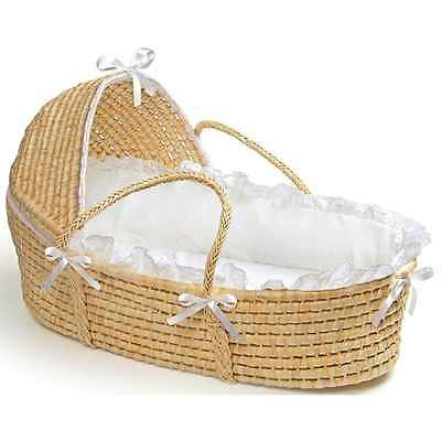 Natural Hooded Moses Newborn Baby Unisex Boys Girls Carrrying Basket in White