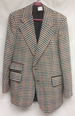VTG Mens Hipster Blazer 44 Tall Ticket Pocket Houndstooth Country Squire