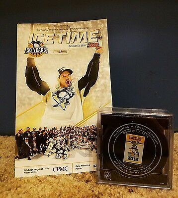 Penguins Stanley Cup Banner Raising Game Puck and Ice Time October 13, 2016