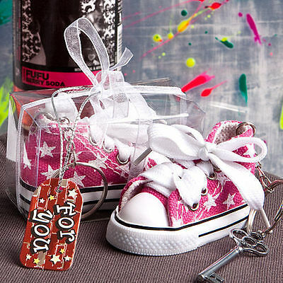 50 Oh-so-cute Pink Star Baby Girl Sneaker Key Chain Shower Favor