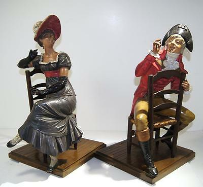 Antique Continental Europe Terracotta Figures of Gentleman & Lady early 20th C.