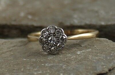 Antique Edwardian 18Ct Gold Diamond Daisy Flower Ring