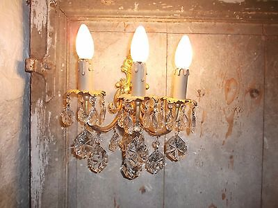 French ornate bronze single wall light sconce detailed crystal antique