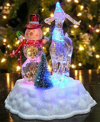 Snowman Decorations - LED Light Up Snowman and Reindeer Figurine - Battery Op...