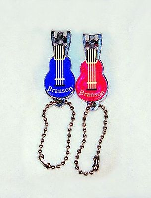 Guitar Shaped Nail Clippers Branson, Missouri Souvenir, Red and Blue - Qty 2
