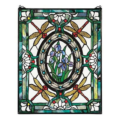 Design Toscano Dragonfly Floral Stained Glass Window