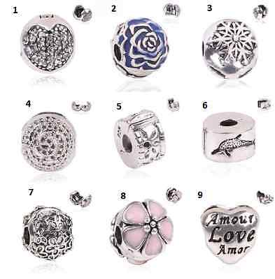 Charms Clip Stopper Securite Argent 925 Bracelet Europeen Serpent Compatible Top