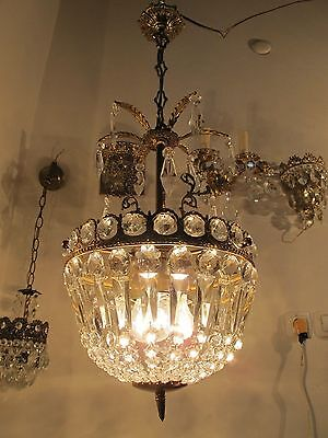 Antique Vnt French HUGE Basket Style Crystal Chandelier Lamp 1940's 12in dmtr-