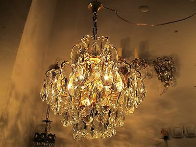 Antique Vnt French Big Spider Style Czech Crystal Chandelier 1940s 16in dmtr**-