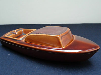 Quirky & Unusual Ceramic Brown Treacle Glaze Boat Ashtray /Match Holder