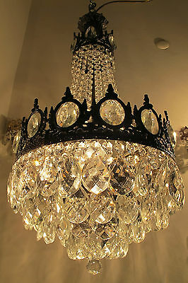 Antique Vnt French Big Basket Style Crystal Chandelier Lamp 1940's 14in dmtr**-