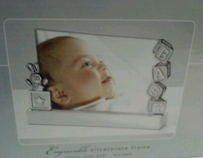 Baby Picture Frame Engravable Silverplate Size 4 X 6