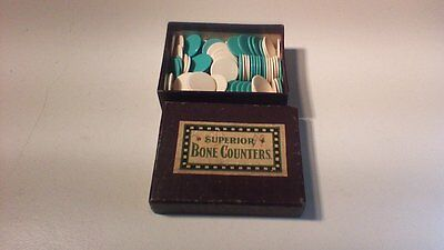 Antique Boxed Superior Bone Counters Gaming Chips