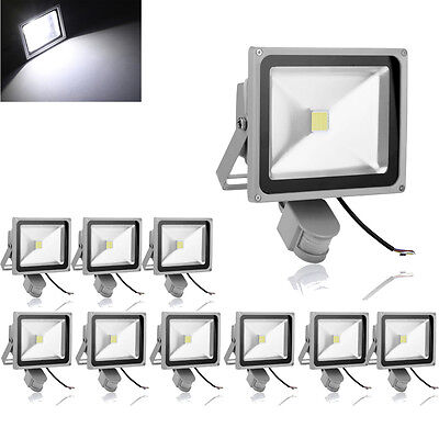 10X 30W PIR Motion Sensor LED Floodlight Cool White Outdoor Lamp Security Lamp