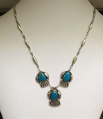 Vintage Navajo Native American Style Mexican Turquoise & Silver Necklace