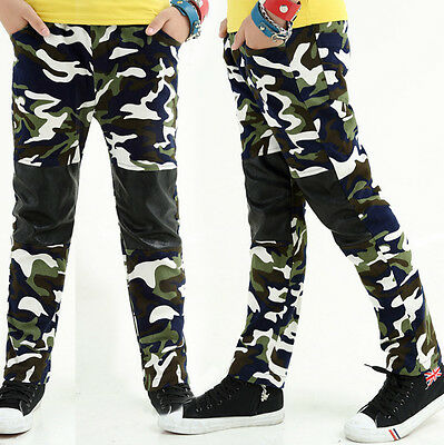 Kids Boys Combat Cotton +Leather Cargo ARMY Pants Military Camouflage Trousers