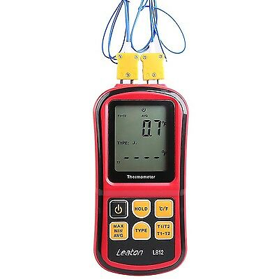 Leaton Digital Thermocouple Thermometer Dual-channel LCD Backlight Temperatur...