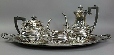 Antique Five Piece Silver-Plate Tea And Coffee Set With Tray