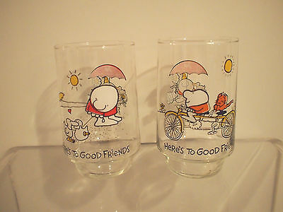 "Set of 2 Vintage Ziggy ""Heres To Good Friends"" 7Up Collector Series Glasses 1977"
