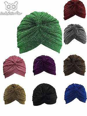 Shimmer Turban Hat Cap Hijab Hairband Bandana Wrap Hair Loss Chemo Plain Plain