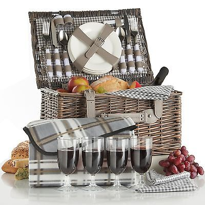 VonShef Deluxe 4 Person Traditional Wicker Picnic Basket Hamper with Cutlery ...