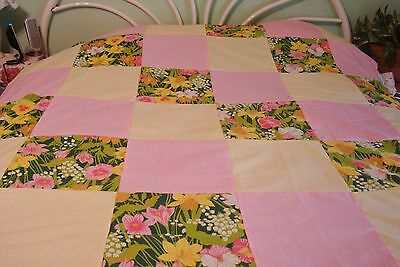 """Flowers On Dark Green - Quilt Top - 61"""" Square  - No Shrink/fade - Pretty"""