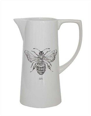 White Stoneware Pitcher with Bee Design