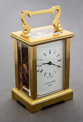 Mappin & Webb 11 jewel brass carriage clock/mantlepiece turned handle works