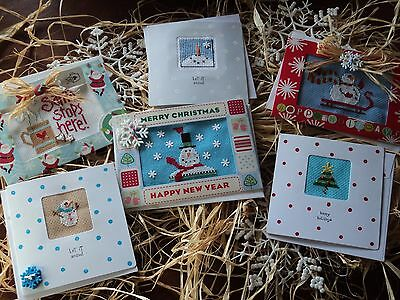 6 Completed Cross Stitch Lizzie Kate Snowman tree Christmas Cards beads buttons