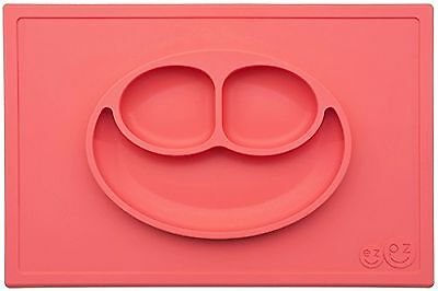 ezpz Happy Mat - One-piece silicone placemat + plate (Coral) Coral